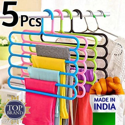 Clothes Organizer Hanger for Shirts, Pants, Skirts-32 L x 31 H x 5W cm (Multicolour, Set of 5)