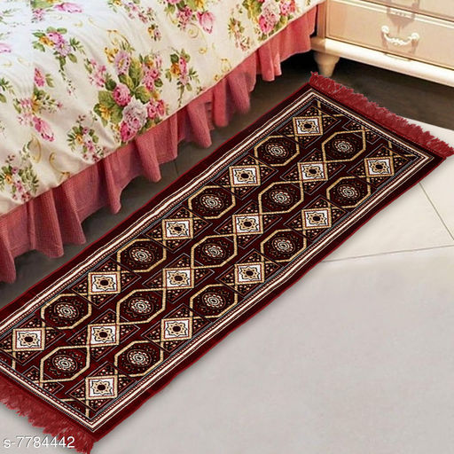 Carpets & Dhurries  *NFI essentials Bed Side Runner Mat | Floor Runner | Kitchen Mat in Velvet Material | Size * 51x168  *Material* Velvet  *Pattern* Ethnic Motifs  *Multipack* 1  *Sizes*   *Free Size (Length Size* 51 cm, Width Size  *Sizes Available* Free Size *   Catalog Rating: ★4.3 (18)  Catalog Name: Classic Fancy Floormats & Dhurries CatalogID_1271294 C55-SC1119 Code: 725-7784442-055