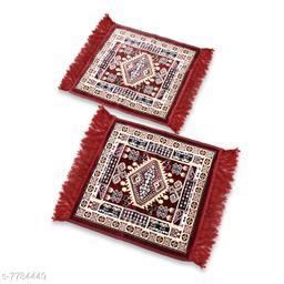 NFI essentials Pack of 2 Velvet Prayer Mat   Puja Mat Aasan   Meditation Mat   Multipurpose Velvet Rug Mat   Pooja Asana  Size: 51x51cm