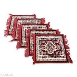 NFI essentials Pack of 5 Velvet Prayer Mat   Puja Mat Aasan   Meditation Mat   Multipurpose Velvet Rug Mat   Pooja Asana  Size: 51x51cm