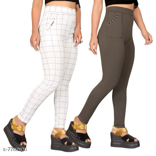 Jeggings Sia Attractive Women's Jeggings   *Fabric* Lycra  *1 Jegging Pattern* Checked, 2 Jegging Pattern  *Multipack* 2  *Sizes*   *Free Size (Waist Size* Up To 32 in, Length Size  *Sizes Available* Free Size *    Catalog Name: Sia Attractive Women's Jeggings  CatalogID_1272281 C79-SC1033 Code: 954-7787970-