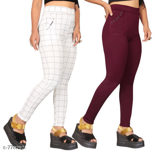 Jeggings Sia Attractive Women's Jeggings   *Fabric* Lycra  *1 Jegging Pattern* Checked, 2 Jegging Pattern  *Multipack* 2  *Sizes*   *Free Size (Waist Size* Up To 32 in, Length Size  *Sizes Available* Free Size *    Catalog Name: Sia Attractive Women's Jeggings  CatalogID_1272281 C79-SC1033 Code: 954-7787971-