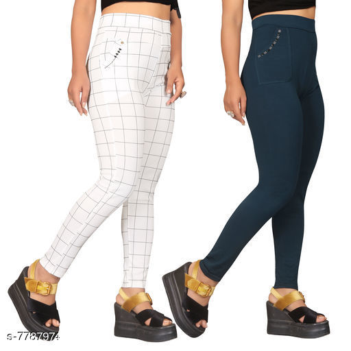 Jeggings Sia Attractive Women's Jeggings   *Fabric* Lycra  *1 Jegging Pattern* Checked, 2 Jegging Pattern  *Multipack* 2  *Sizes*   *Free Size (Waist Size* Up To 32 in, Length Size  *Sizes Available* Free Size *    Catalog Name: Sia Attractive Women's Jeggings  CatalogID_1272281 C79-SC1033 Code: 954-7787974-
