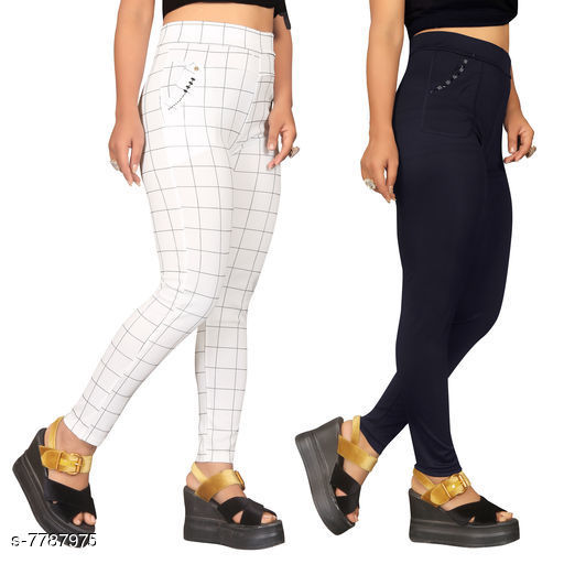 Jeggings Sia Attractive Women's Jeggings   *Fabric* Lycra  *1 Jegging Pattern* Checked, 2 Jegging Pattern  *Multipack* 2  *Sizes*   *Free Size (Waist Size* Up To 32 in, Length Size  *Sizes Available* Free Size *    Catalog Name: Sia Attractive Women's Jeggings  CatalogID_1272281 C79-SC1033 Code: 954-7787975-