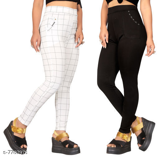 Jeggings Sia Attractive Women's Jeggings   *Fabric* Lycra  *1 Jegging Pattern* Checked, 2 Jegging Pattern  *Multipack* 2  *Sizes*   *Free Size (Waist Size* Up To 32 in, Length Size  *Sizes Available* Free Size *    Catalog Name: Sia Attractive Women's Jeggings  CatalogID_1272281 C79-SC1033 Code: 954-7787978-