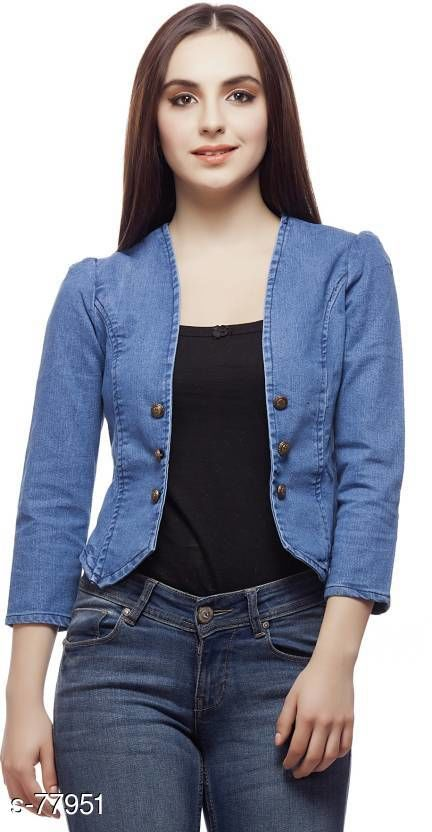 Capes, Shrugs & Ponchos Fashionable Denim Women's Jacket  *Fabric* Denim   *Sleeves* Sleeves Are Included   *Size* S - 36 in, M - 38 in, L - 40 in, XL - 42 in   *Length* Up to 16 in to 18 in   *Type* Stitched   *Description* It Has 1 Piece of Jacket   *Pattern* Solid   *Note* Colors may be slightly different due to the photographic effect.  *Sizes Available* XXS, XS, S, M, L, XL, XXL, XXXL, 4XL, 5XL, 6XL, 7XL, 8XL, 9XL, 10XL, Free Size *   Catalog Rating: ★4.1 (2035)  Catalog Name: Free Mask Trendyfrog The Denim Hive Vol 3 CatalogID_7864 C79-SC1024 Code: 682-77951-