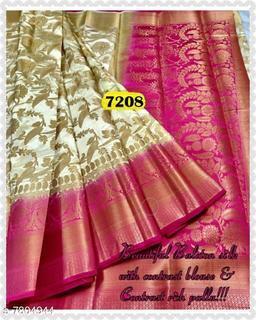 Nirja Creation Fancy Designer Banarasi Cotton Silk Saree