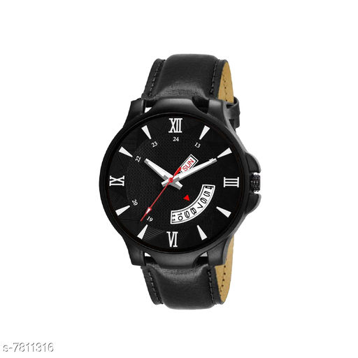 DD-BLK-LF021 Unique Day and Date Black Leather Belt Attractive and Stylish Boys Watch