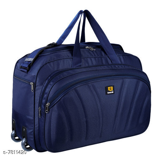 Attractive Women's Navy Blue Leather Trolley Bags