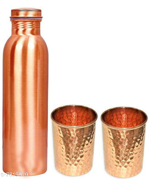 SS Pure Copper 1 Litre Water Bottle With 2 Copper Glass  Drinkware Gift Set ( 1000 ML Bottle, 300 ML Glass )