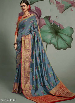 Woven Patola Cotton Blend Saree With Unstitched Blouse Piece