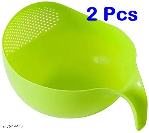 Rice & Fruits Washing Bowl with Handle (Pack Of 2, Green)