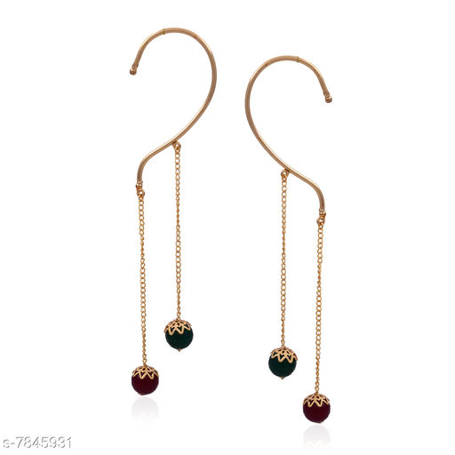 Earrings & Studs Beautiful Ear Cuffs Hangings  *Base Metal* Brass & Copper  *Plating* Rhodium Plated  *Stone Type* Onyx  *Sizing* Non-Adjustable  *Type* Ear Cuff  *Sizes Available* Free Size *    Catalog Name: Allure Unique Earrings CatalogID_1285951 C77-SC1091 Code: 772-7845931-
