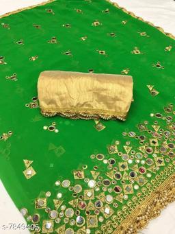 Trendy Marble Georgette Women's Saree