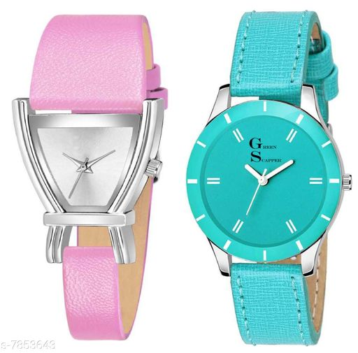 Green Scapper Pink Leather Strap Luxury Party Wedding Rich Look Analog Watches For Women & Girls-2626