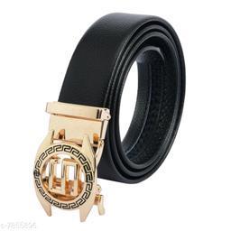 Stylish Men's Black Faux Leather/Leatherette Belt