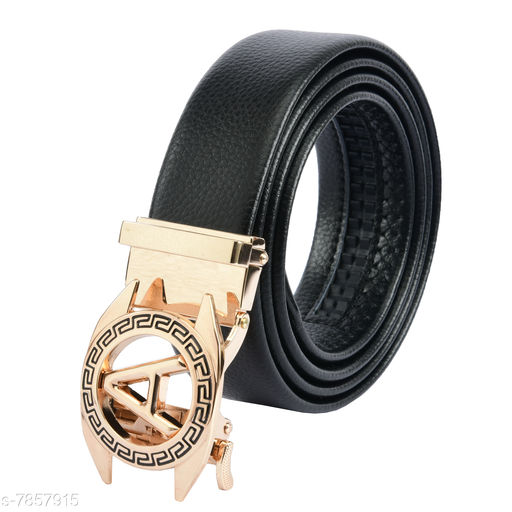 Winsome Deal Trendy Artificial Leather Belt for Mens, Designing Auto Lock Glossy Buckle