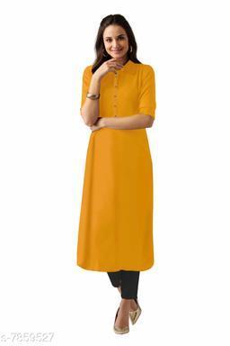 Women Rayon A-line Solid Yellow Kurti