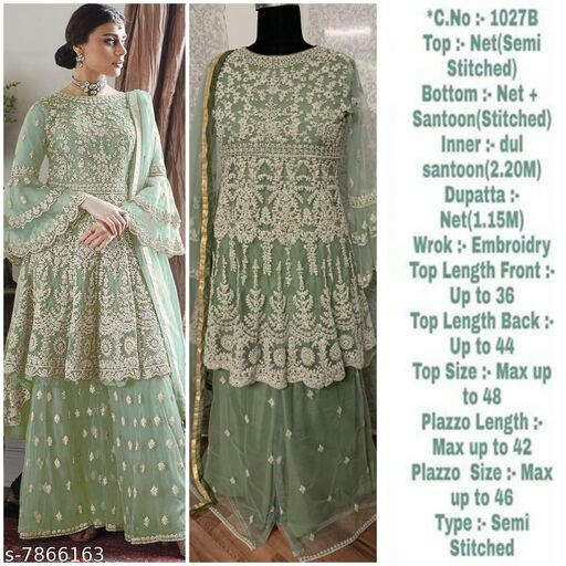 Miss Ethnik Women's Pista Net Semi Stitched Top With Stitched Net Bottom and Net Dupatta Embroidered Flared Top Dress Material (Pakistani Suits) (1027-Pista)