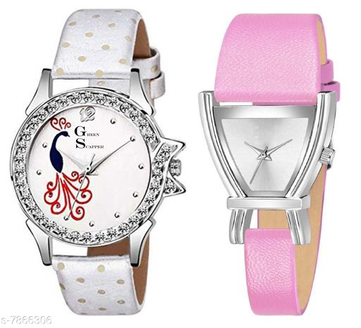 Green Scapper Pink Leather Strap Luxury Party Wedding Rich Look Analog Watches For Women & Girls-2630