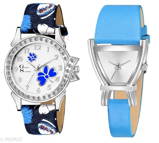 Green Scapper Sky-Blue Leather Strap Luxury Party Wedding Rich Look Analog Watches For Women & Girls-2629