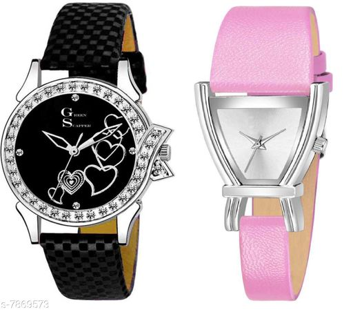 Green Scapper Pink Leather Strap Luxury Party Wedding Rich Look Analog Watches For Women & Girls-2627