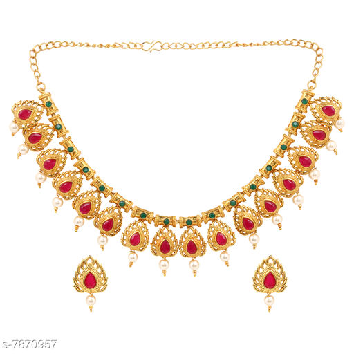 Jewellery Set A1 Bhumika Trendz Traditional Kuiri Shape Gold Plated Choker Style Necklace Set for Women  *Base Metal* Alloy  *Plating* Gold Plated  *Stone Type* Artificial Stones & Beads  *Sizing* Adjustable  *Type* As Per Image  *Multipack* 1 This A1 Bhumika Trendz Jewellery set adds Lavishing look to any clothing. Any fabulous outfit is incomplete without matching jewellery. A woman is completely dressed with wearing matching jewellery. So it can be rightfully said that in order to dress completely, a lady needs fashion jewellery. Occasion might be any, getting ready in a sophisticated manner is women's thing that they enjoy the most. An exclusive assortment of fashion jewellery & accessories brought to you by Bhumika Trendz. Select your kind of jewelley and get decked up for upcoming festival or party.  *Sizes Available* Free Size *    Catalog Name: Feminine Fancy Jewellery Sets CatalogID_1291991 C77-SC1093 Code: 793-7870957-