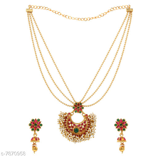 Jewellery Set A1 Bhumika TrendzTraditional LCT Gold Plated Wedding Jewellery Long Haram Necklace Set for women  *Base Metal* Alloy  *Plating* Gold Plated  *Stone Type* Artificial Stones & Beads  *Sizing* Adjustable  *Type* As Per Image  *Multipack* 1 This A1 Bhumika Trendz Jewellery set adds Lavishing look to any clothing. Any fabulous outfit is incomplete without matching jewellery. A woman is completely dressed with wearing matching jewellery. So it can be rightfully said that in order to dress completely, a lady needs fashion jewellery. Occasion might be any, getting ready in a sophisticated manner is women's thing that they enjoy the most. An exclusive assortment of fashion jewellery & accessories brought to you by Bhumika Trendz. Select your kind of jewelley and get decked up for upcoming festival or party.  *Sizes Available* Free Size *    Catalog Name: Feminine Fancy Jewellery Sets CatalogID_1291991 C77-SC1093 Code: 793-7870958-