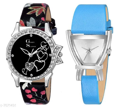 Green Scapper Sky-Blue Leather Strap Luxury Party Wedding Rich Look Analog Watches For Women & Girls-2631