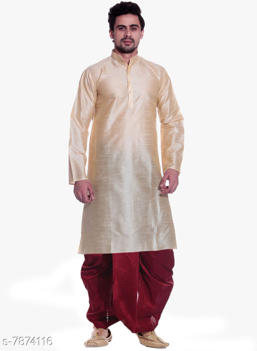 MAG Men's Gold kurta Maroon Dhoti