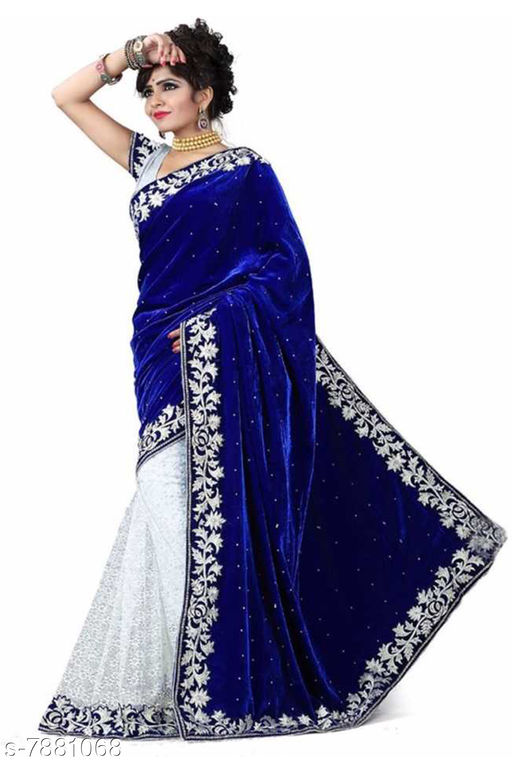 Apnisha Women's Velvet & Rasal Net Half & Half Saree (Blue _Free Size)