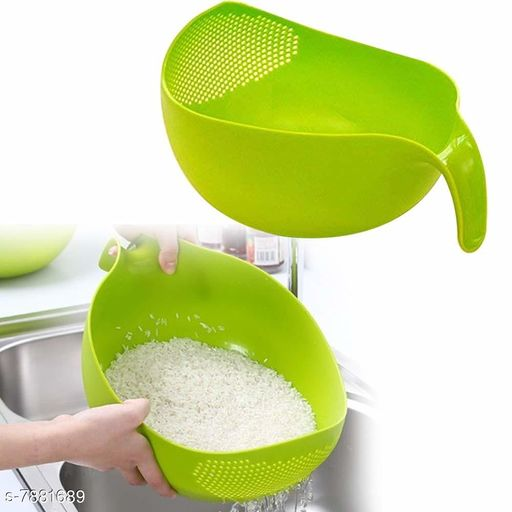 Fruit Bowl Thick Drain Basket with Handle (Pack Of 1 Green Colour)