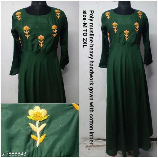 Poly Musline Handwork Gown