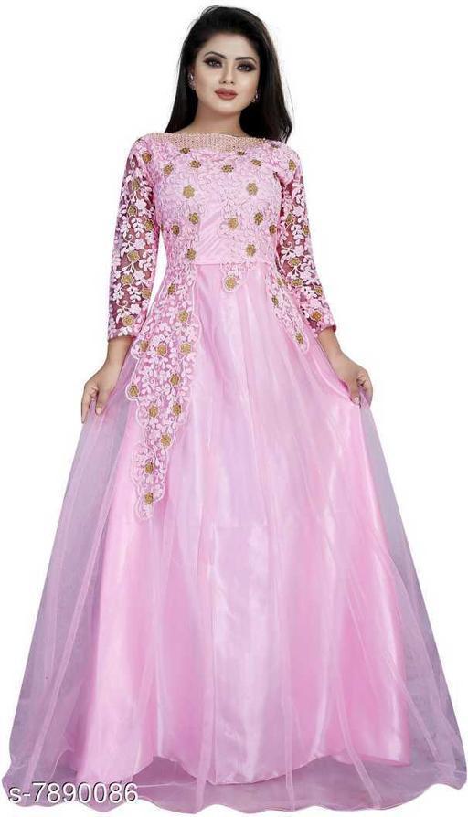 Vrunda Fashion Embroidered Net Semi Stitched Anarkali Gown