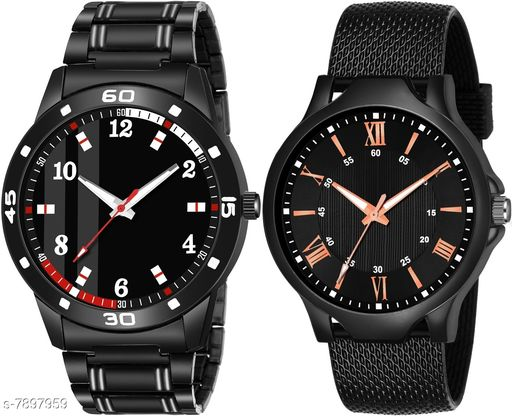K_61_513 NEW ARRIVAL ANALOG ROUND DIAL QUARTZ PACK OF 2 WATCH FOR MEN AND BOY