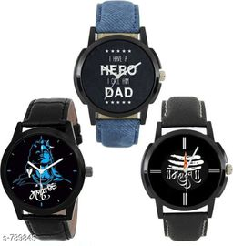 Trendy  Men's Leather Watch (Pack Of 3)