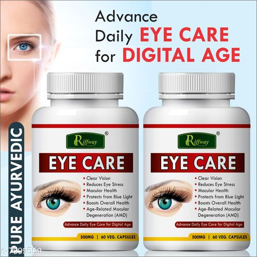 Ayurveda & Herbs Eye care Herbal Capsules For helps to clear your vision 100% Ayurvedic  *Product Name * Eye care Herbal Capsules For helps to clear your vision 100% Ayurvedic  *Brand * Riffway  *Type * Herbal Capsules  *Capacity * 60 Capsules Each  *Multipack * Pack of 2  *Sizes Available* Free Size *    Catalog Name:  100 % Ayurvedic Herbal Capsules CatalogID_1298448 C126-SC1312 Code: 4701-7899559-