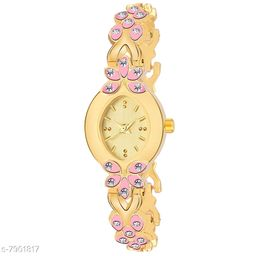 LADIIES_958  PINK AND GOLD DIAL SIMPLE LOOK ANALOGUE WATCH FOR WOMEN