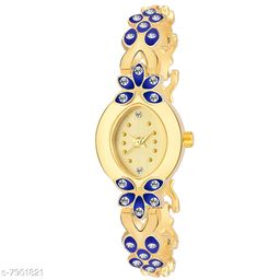 LADIIES_957 BLUE AND GOLD DIAL SIMPLE LOOK ANALOGUE WATCH FOR WOMEN