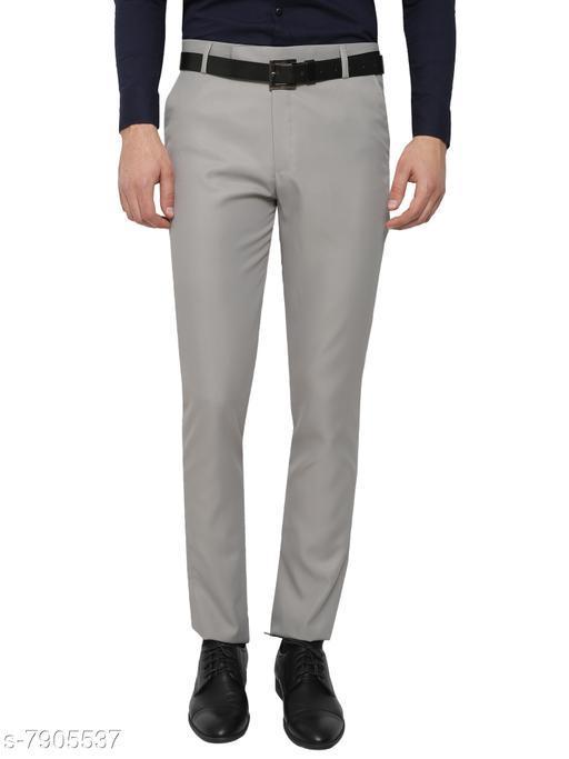 Inspire Light Grey Slim Fit Formal Trouser For Men