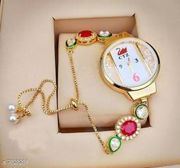 Ethnic Bracelet Watch For Womens / Ladies / Girls Round Dial Kundan Meena Pearl ( Multicolor )
