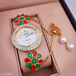 Bracelet Watch For Womens / Ladies / Girls Ethnic Look Kundan Meena Diamond Pearl Work ( Multicolor )