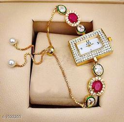 Ethnic Bracelet Watch For Womens / Ladies / Girls Rectangular Dial Kundan Meena Pearl ( Multicolor )