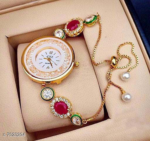 Ethnic Bracelet Watch For Womens / Ladies / Girls Ethnic Look Kundan Meena Pearl ( Multicolor )