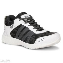 BEET LOOKS Men's White Grey Mesh Sports Running Shoes