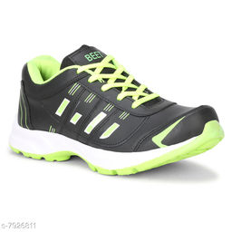 BEET LOOKS Men's Black Green Mesh Sports Running Shoes