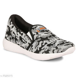 BEET LOOKS Men's Grey Mesh Sports Running Shoes