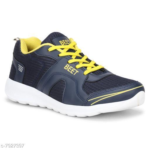 BEET LOOKS Men's Navy Yellow Mesh Sports Running Shoes