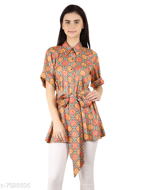 MOH The Eternal Dhaga  Foil Rayon  Shirt Style Printed Half Sleeve Multicolor Casual And Party Wear Women Knotted shirt