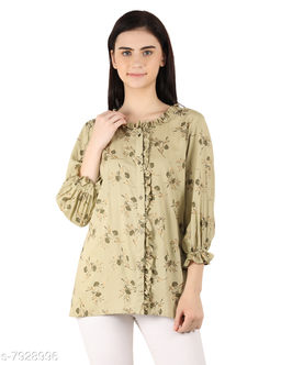 MOH The Eternal Dhaga  Foil Rayon  Round Neck Printed 3/4 Sleeve Green Casual And Party Wear Women Shirt